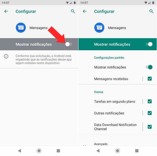 Ativando as Notificações de SMS no Android