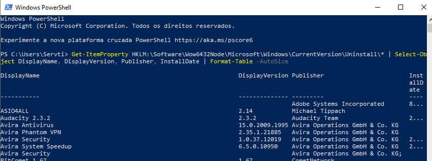 Listando Todos os Softwares Instalados no Windows