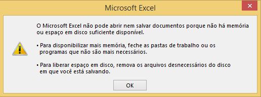 Como Resolver o Erro Memória Insuficiente no Excel